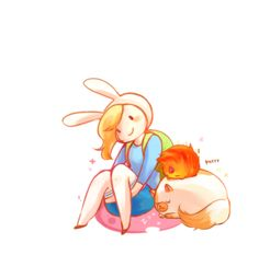 Fionna, cake, and flame prince