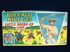 Buffalo Bill Jr's Cattle Round-up Game Old Board Games, Vintage Board Games, Vintage Toys, Retro Vintage, Perry Mason, Lone Ranger, Up Game, Toy Boxes, Cattle