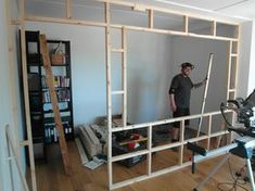 Inspiration from Rebuild customers - The Home Office Bedroom Divider, Room Divider Walls, Room Divider Bookcase, Fabric Room Dividers, Hanging Room Dividers, Studio Apartment Decorating, Apartment Design, Small Rooms, Small Apartments
