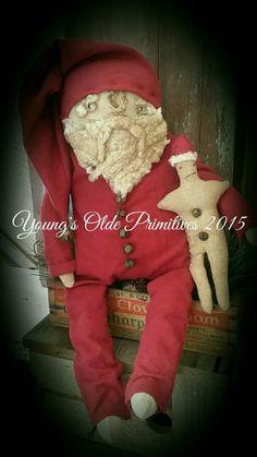 Primitive Santa Doll & His Gingerbread Man Winter Christmas