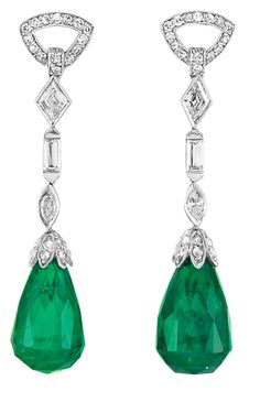 Pair of Art Deco Platinum, Diamond and Emerald Briolette Pendant-Earclips.   Topped by a line of two delicate diamond-set triangle links, 2 diamond-shaped, 2 baguette and 2 marquise-shaped diamonds, suspending 2 emerald briolettes approximately 12.6 x 8.2 mm., with rose-cut diamond caps, circa 1920.