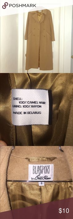 Bill Blass 100% Camel Hair Full Length Coat Size 6 Hi Poshers!!! We're offering this Bill Blass 100% Camel Hair Full Length Coat Size 6 with minimal damage for super cheap. This piece is in great condition except one belt loop is broke and needs alteration/repair. Jackets & Coats Pea Coats