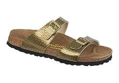 Sydney by Papillio       $79  Paillettes Gold Birko-Flor  Unique materials and creative designs mark this two strap style. The thinner straps are placed comfortably over the foot bones. Contoured cork footbed provides great arch support and comfort. Lightweight, flexible sole can be resoled many times.