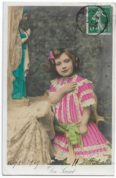 Cute Edwardian Little Girl Praying, Pink Striped Dress RPPC, Antique Children Photo, Vintage French Postcard, Tinted Real Photo by maralecollectibles on Etsy Photo Postcards, Vintage Postcards, Vintage Photographs, Vintage Photos, Cute Little Girls, Very Lovely, Vintage Colors, Belle Epoque, French Vintage