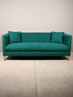 Bies sofa | redinfred Tufted aqua marine custom, modern sofa, made in the USA and available in custom fabrics
