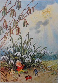 FRITZ BAUMGARTEN - ZWERG spielt Flöte, Käfer u. Schnecke lauschen, Blumen