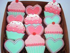 Pretty colored box of decorated heart cookies from Flour Box Bakery. Inspiration for your own Valentine cookies. Fancy Cookies, Iced Cookies, Cute Cookies, Royal Icing Cookies, Cupcake Cookies, Sugar Cookies, Heart Cookies, Cookie Favors, Flower Cookies