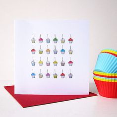 Cupcakes With Candles Birthday Card - birthday cards