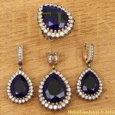 Hurrem Sultan Set Tear Drop Shape Sapphire by helenfinejewels