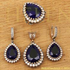 Hurrem Sultan Set Tear Drop Shape Sapphire by helenfinejewels