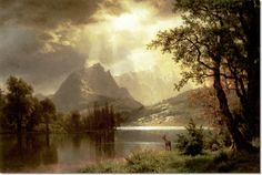 Albert Bierstadt - Estes Park Colorado 1869 Landscape Art, Landscape Paintings, Albert Bierstadt Paintings, Hudson River School Paintings, Moonlight Painting, Victorian Paintings, River Painting, Great Paintings, Traditional Paintings