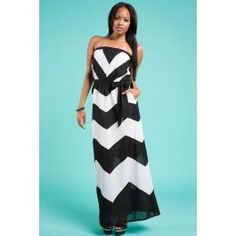Black Chevron Strapless Maxi Dress
