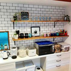 mamemackhamさんの、キッチン,キッチンカウンター,サブウェイタイル,観葉植物のある部屋,カリフォルニアスタイル,のお部屋写真