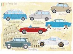 Vintage italian cars 60s, illustration by Studio Slash www.alidifirenze.fr