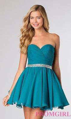 Short Strapless Homecoming Dress by Blush at PromGirl.com || Love love love this one!