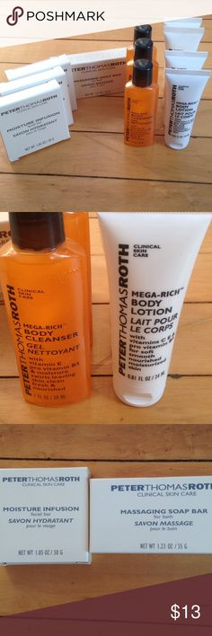 Travel Size Peter Thomas Roth Items Includes; 1 massaging soap bar, 3 moisture infusion facial bars, 3 mega-rich body cleansers and 4 mega-rich body lotions. Peter Thomas Roth Other
