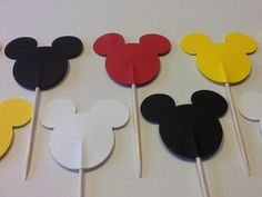 24 Mickey Mouse Cupcake Toppers, Disney Party, Mickey Mouse Birthday Party, Disney Decor. $3.50, via Etsy.