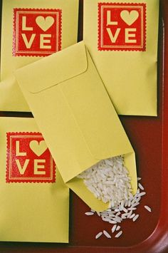 : rice wedding packets.    Could be better to replace the rice with bird seed. Cool idea.