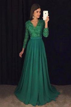 af549210850 Robe de soirée longue naturel de princesse de col en v de traîne courte -  Photo · Robe Vert ÉmeraudeRobe ...