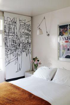 white bedroom modern artwork