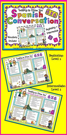 Spanish 6 X 6 Conversation Boards: Beginning and Intermediate #Learn #spanish here:  http://espanishlessons.com/  #beginnersspanish #spanishlessons  #bestspanishcourse