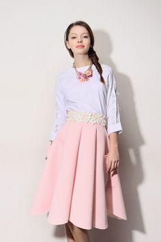 Storets Premium 3D Flower Balloon Scuba Skirt Full Skirt // Storets.com // #STORETS
