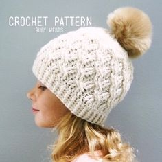 The Cadence Crochet Hat Pattern in 4 Sizes Easy Crochet Hat Patterns, Crochet Mittens Pattern, Crochet Adult Hat, Bonnet Crochet, Crochet Cable, Crochet Bows, Crochet Motifs, Crochet Baby Hats, Motifs Beanie