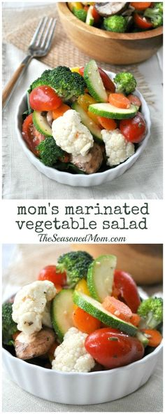 My Moms Marinated Vegetable Salad is a simple, nutritious, and flavor-packed way to enjoy summers fresh produce. Make it in advance and you have a cool, crisp, and refreshing side dish for just about any summer potluck, picnic, or weeknight dinner.