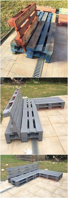 pallet garden Small sizes of outdoor couch designs are excellently designed out for your household use. This is a unique idea of the pallet designing, where you can catch the attractive rustic use of the wood pallet to add it with some catchier prospects. Pallet Furniture Designs, Pallet Garden Furniture, Diy Pallet Sofa, Pallets Garden, Furniture Projects, Wood Pallets, Pallet Wood, Rustic Furniture, Wooden Furniture