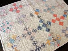 "Lovely! Vintage Feedsack 9 Square Postage Stamp Doll Quilt 7/8"" pieces! eBay, vintageblessings"