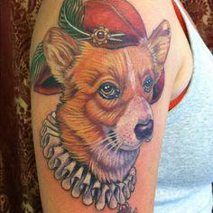 Corgi tattoo.  By Mike Pritchett at Matchless Tattoo.