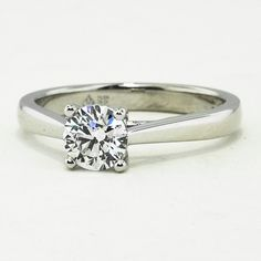 18K White Gold Petite Tapered Trellis Ring set with 0.59 carat round diamond.