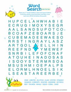 Worksheets: Word Search for Kids: Under the Sea