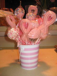 cake pop arrangement - cake pop and chocolate pop arrangement for a Breast Cancer Awareness fundraiser at work