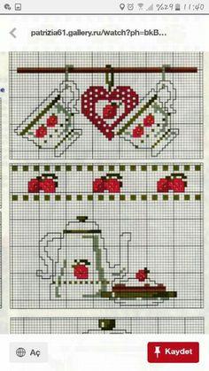 Cross Stitch Kitchen, Mini Cross Stitch, Cross Stitch Heart, Cross Stitching, Cross Stitch Embroidery, Hand Embroidery, Embroidery Designs, Cross Stitch Designs, Cross Stitch Patterns