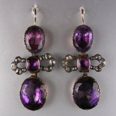 Georgian amethyst and rose diamond earrings, amethysts are closed set in gold while the diamonds are closed set in silver. circa 1770 | DB Gems