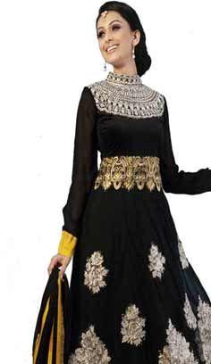 Bollywood Latest Black Nett Churidar Anarkali Suit, Dress