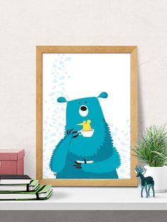 Tragen Sie, Print, Baumschule Wandkunst, Kinderzimmer Dekoration, Kinderzimmer Zimmer Wanddekoration, blaue Bär drucken, Kinderzimmer Wanddekoration, Baby Room decor, Minimal Bär