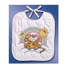EAT WITH COSMIC MOUSE! This Stamped Cross Stitch bib design by Rosie Lane from our Neat And Nifty Line. A FREE Baby Gift card and envelope included.