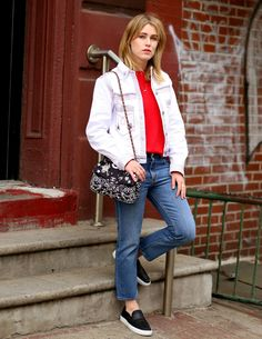 white denim jacket + red top