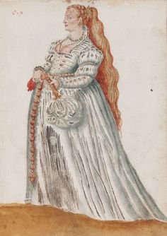 The Venetian Woman in 'Mores Italiae,' 1575, Unknown Artist, Beinecke Rare Book and Manuscript Library, Yale University, http://realmofvenus.renaissanceitaly.net/wardrobe/moresitaliae.htm