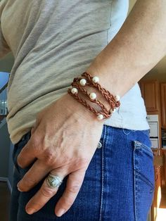 Leather wrap bracelet with pearls pearl and by IndieLeather