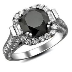 4.55ct Black Round Diamond Engagement Cocktail Ring 18k White Gold: Jewelry: Amazon.com $3395