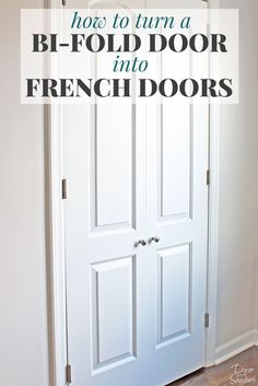 Home Renovation Diy Turn your bi-fold door into French doors with this easy tutorial! It shows you exactly how to create your own custom closet with beautiful DIY French doors. This budget-friendly closet makeover will have a huge impact on your home! Diy Closet Doors, Closet Door Makeover, Closet Bedroom, Bedroom Doors, French Closet Doors, Replacing Closet Doors, Diy Closet Ideas, Double Closet Doors, Folding Closet Doors