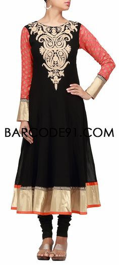Buy it now  http://www.barcode91.com/a-beautiful-anarkali-dress-in-black-with-thread-embroidery-by-b91-exclusive.html  A beautiful anarkali dress in black with thread embroidery by B91 Exclusive