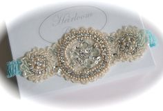 Tiffany Lace Bride Garter with Jeweled Swarovski Crystals, Rhinestones, Pearls and Seed Beads. $69.00, via Etsy.