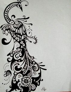 Peacock Drawing Ink Tattoo Design COMMISSIONED Tattoo in Black & White. $25.00, via Etsy.