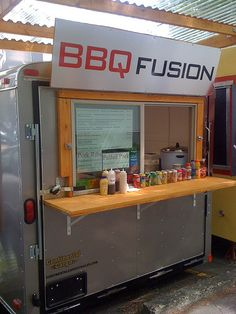 BBQ Fusion. Clean Look! Not to be repetitive, but adding a couple steel or zinc tolix  or tolix knock off  stools would really complete this look! PopUp Republic