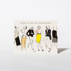 Birthday card Cheers! with an illustration by French fashion blogger Garance Doré for Rifle Paper Co. on www.papperlott.de #papeterie #birthday #greetingcard #Geburtstagskarte