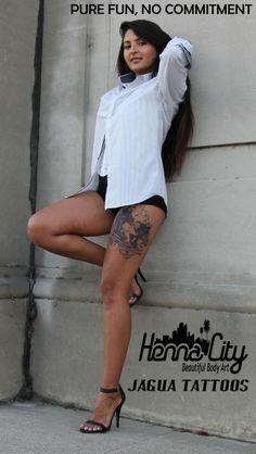 Batman jagua tattoo on girl's leg